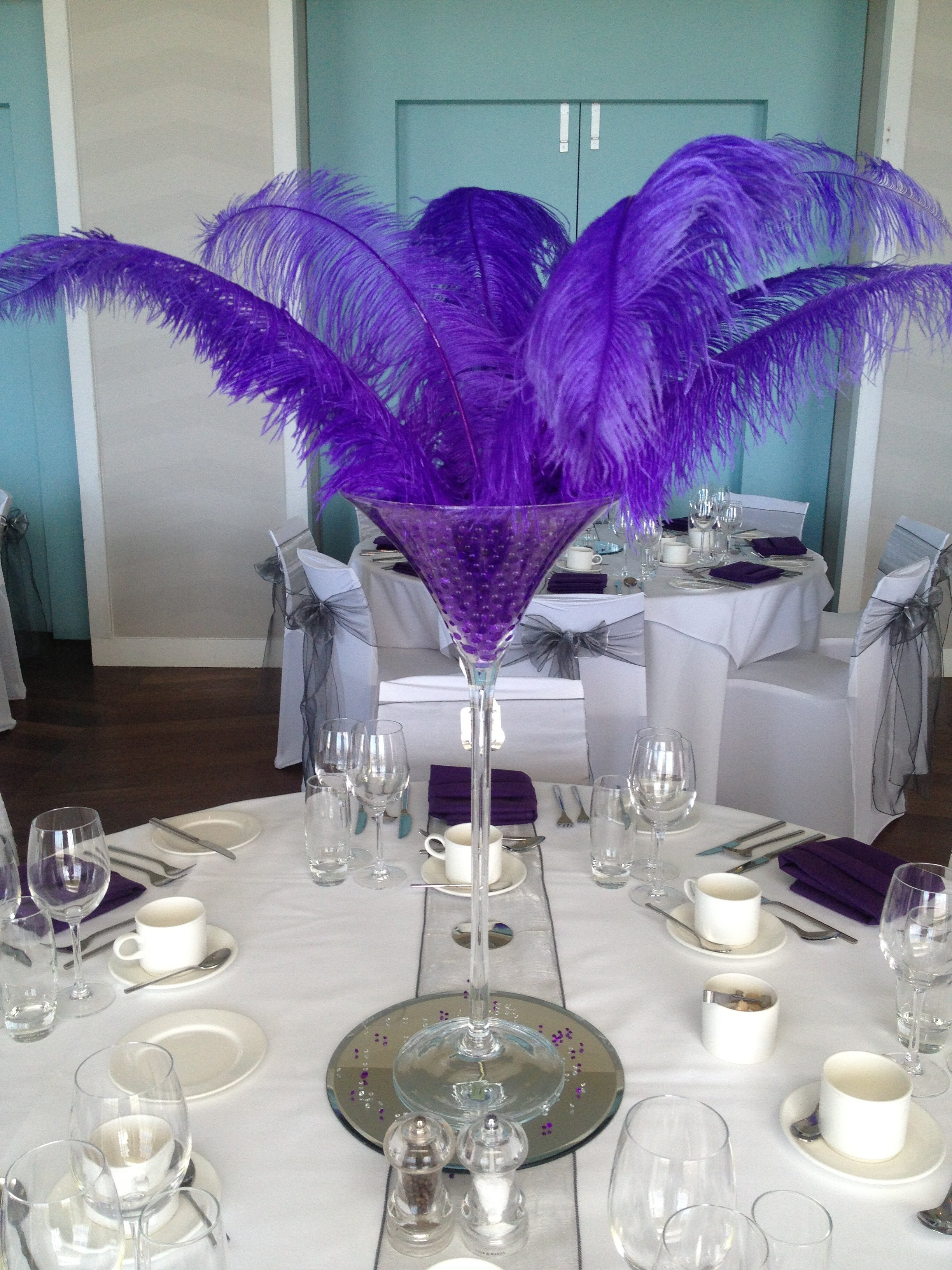 Black chair covers with purple sash - Masquerade Ball Decorations Razzle Dazzle Wedding And Party